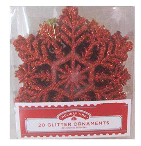 MSX Imports 40 Piece Glitter Snowflake Christmas Tree Ornaments Brilliant Red 3.5