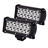 JAHURD 2 PCS 36W 7Inch LED Spot Work Light Driving Fog Lights Waterproof for Off Road, SUV, 4X4 Cars, Jeep, Boat, Outdoor Lamp