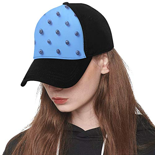 Front Panel Custom Blueberry Design Art Fruit Sweet and Sour Dark Ball Summer Printing Baseball Hat Adjustable Size Curved Dad Cap Suit for Hip-hop Sports Summer Beach Outdoor Activities Unisex