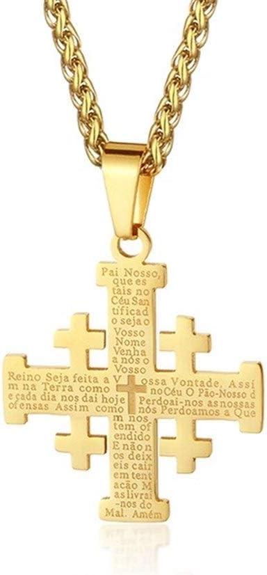LUOSI Cadenas Jerusalén Acero Inoxidable Cruz Colgante Collares For Las Mujeres De Los Hombres De La Biblia Santa Regalo De La Joyería Collares Medieval Religiosa Collares (Metal Color : Gold Color)