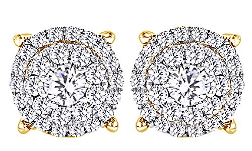 14K Solid Yellow Gold Round Cut White Natural Diamond Hip Hop Cluster Stud Earrings (0.76 Cttw) by Wishrocks
