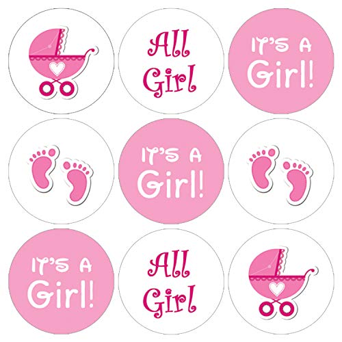 It's a Girl Baby Shower Favor Stickers | Pink Footprint Theme | 216 Count]()