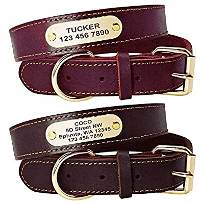 Beirui Genuine Leather Personalized Dog Collars with Nameplate ID Tags, Custom Dog Collars Engraved for Medium Large Dogs,Rich Brown,Dark Red,S,M,L