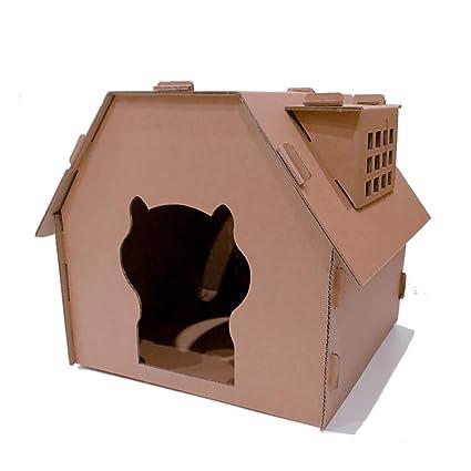 DJLOOKK Cato con Rascador Camada para Gatos portátil con Ventana Casa de Gato Personalizada Combinada Combinación