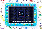 Pac Man Cake Topper Edible Image Personalized Cupcakes Frosting Sugar Sheet (8' X 11' Cake Topper)
