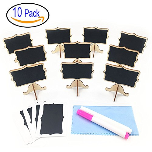 Mini Chalkboards, Wood Mini Chalkboard Signs Food Signs Place Cards Blackboard with Support Easel Chalk Pen Cleaning Cloth for Wedding, Birthday Parties and Event Decoration, Set of 10 by Huretek