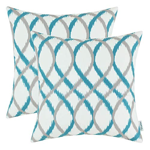 CaliTime Pack of 2 Cozy Fleece Throw Pillow Cases Covers for Couch Bed Sofa Modern Two-Tone Waves Geometric 18 X 18 Inches Gray Teal