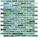 Green and Blue Hand Painted Glass Mosaic Subway Tiles (5 sq ft)