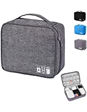 Emoly Electronic Organizer Travel, Universal Waterproof Carrying Case Cable Organizer Electronics Accessories Cases for USB Cables, Charger, Power Bank, Phone, E-book Kindle, iPad or Tablet (Gray)