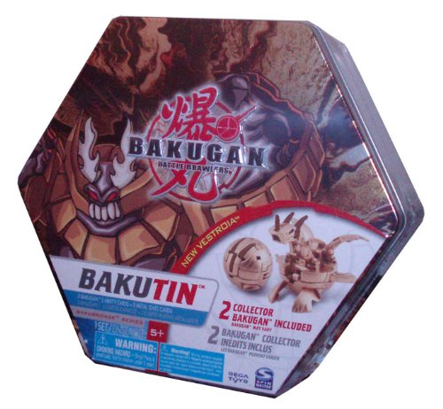 Cartoon Network Bakugan Battle Brawlers Bakubronze Series BROWN Bakutin Set with 2 Collector Bakugan (Bakugan May Vary), 5 Ability Cards, 5 Metal Gate Cards, 2 Removable Trays and Bakugan Storage Tin