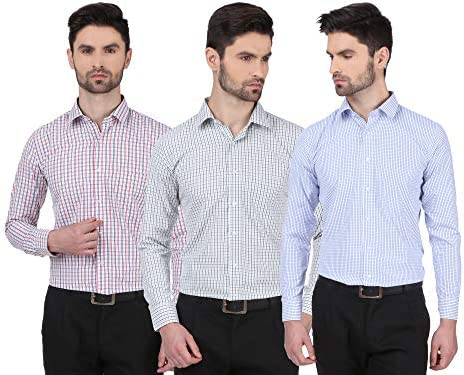 Dudlind Set of 3 Formal Checkered Full Sleeves Shirt for Men Red Green & Purple Colour | Combo of 3 Men's Shirts for Office and Business