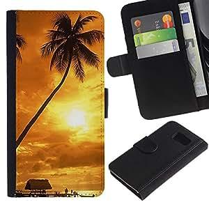 All Phone Most Case / Oferta Especial Cáscara Funda de cuero Monedero Cubierta de proteccion Caso / Wallet Case for Sony Xperia Z3 Compact // Sunset coconut Beautiful Nature 122