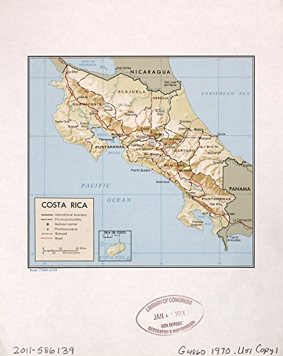 (1970 map Costa Rica Size 20x24 - Ready to Frame  Costa Rica)