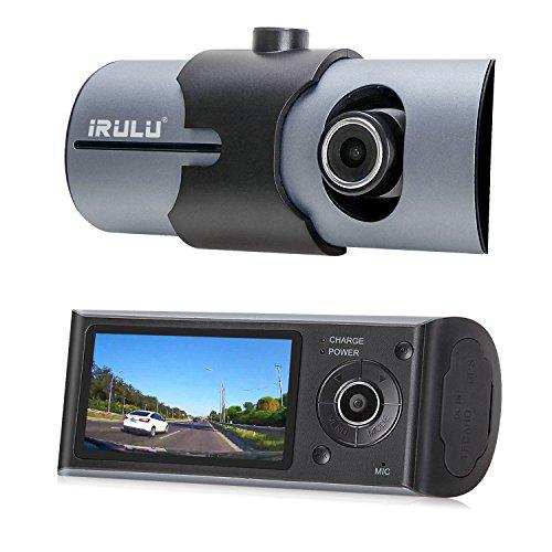 iRULU Dual Dash Cam, 2.7 Inch HD LCD Display 140 Degree Wide Angle Front & Rear Dual Lens Vehicle Dashboard Camera Car DVR Recorder with GPS Module, G-Sensor, Night Vision, Loop Recording