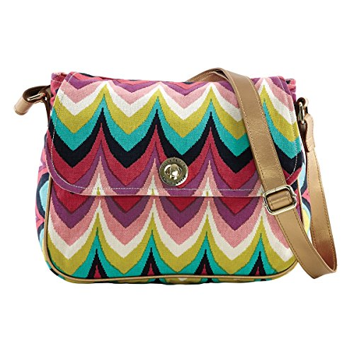 - Bella Taylor Cotton Harper Lane Lemon Rasberry Plum Turquoise Patterns Messenger Crossbody Bag with Adjustable Strap and Slip Zip Pockets H 9 Base: 11.5 W x D 5.5 Inches