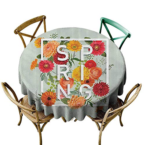 StarsART Personalized Tablecloths Flower,Magazine Cover Like Design with Frame Spring Letters Floral Daisies Art Print,Almond Green D65,Round Polyester Fabric -