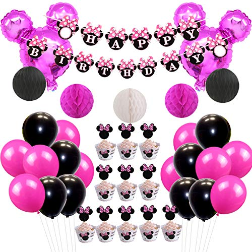 (Minnie Mouse Party Decorations Set Minnie Ears Garland Paper Honeycomb Balls and Balloons for Girl's Birthday Party)