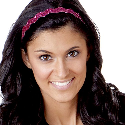 Hipsy Women's Adjustable NO Slip Wave Bling Glitter Headband (Hot Pink)
