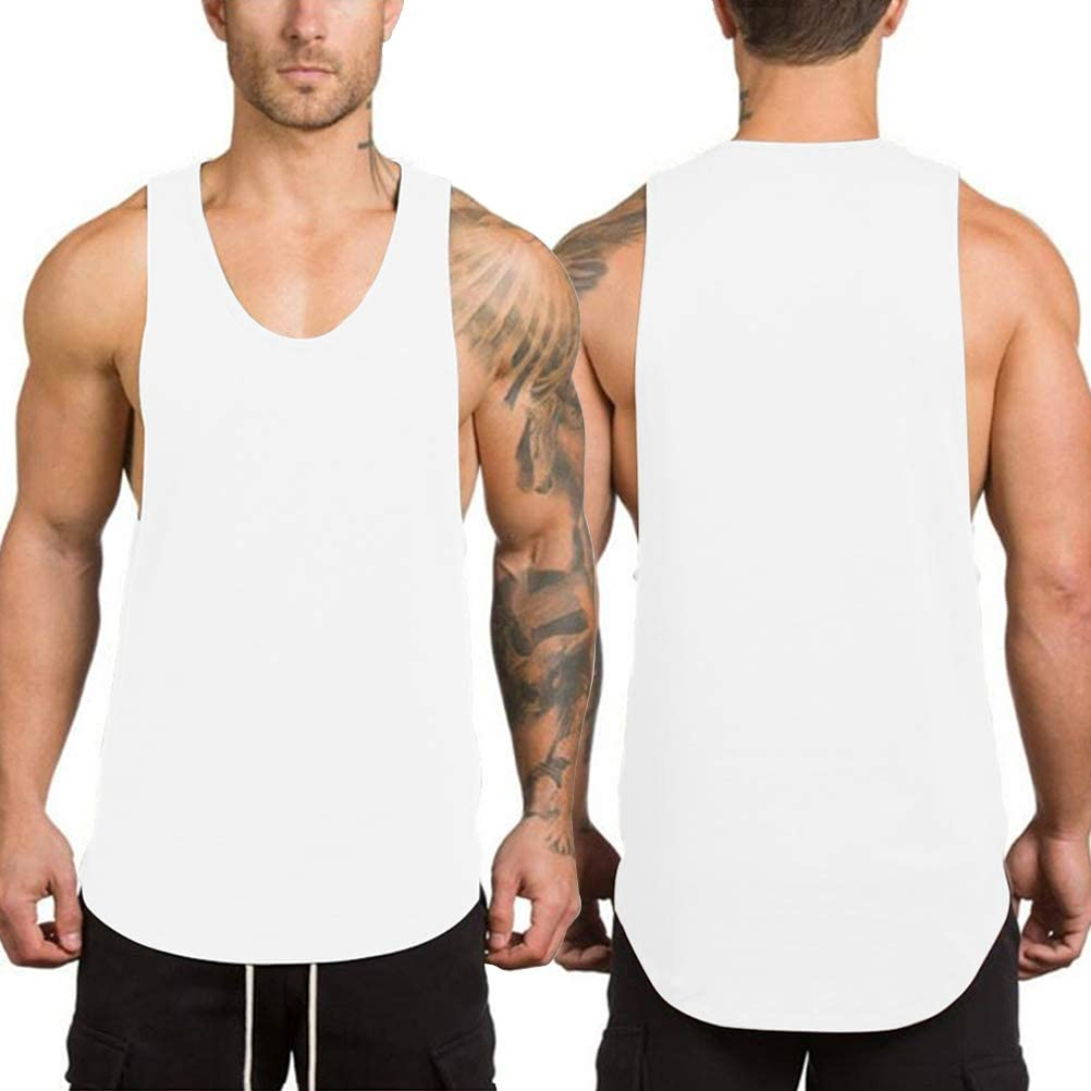 LUODITO 3 Pack Mens Stringers Bodybuilding Tank Tops Gym Workout Sleeveless Muscle Shirts Fitness Vest