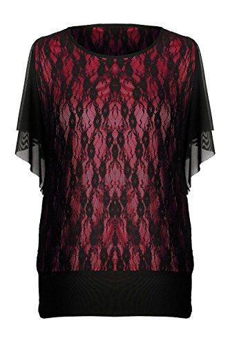 G2 Chic Women's Casual Solid Lace Top(TOP-DSY,RED-M)