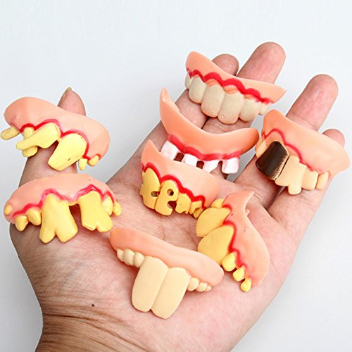 GreenSun TM Prank Startle Tooth Halloween Scary Crooked Monster Teeth Novelty Toy Children Adult Horror Teeth Practical Jokes Toys