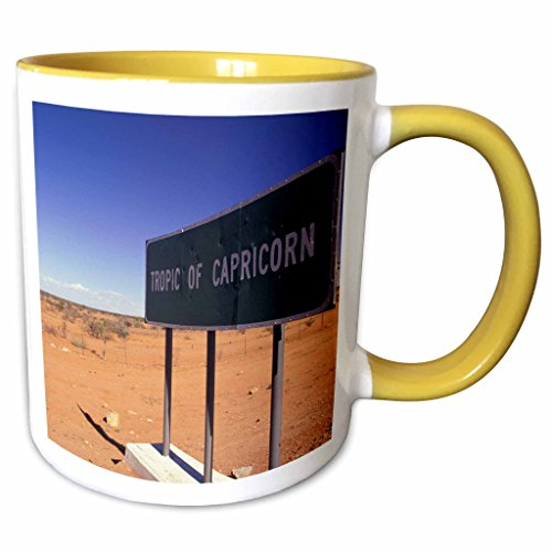3dRose Danita Delimont - Road Signs - Africa, Namibia, Rehoboth, Tropic of Capricorn-AF31 WBI0028 - Walter Bibikow - 11oz Two-Tone Yellow Mug - Rehoboth Outlets De