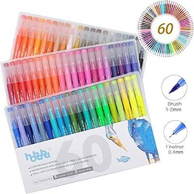 Juego de bolígrafos de caligrafía y rotuladores de punta de pincel de acuarela con doble pincel, para libros de colorear para adultos y diario de balas HO-C-60: Amazon.es: Hogar