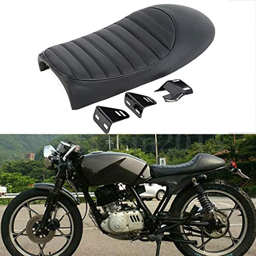 XFMT Black Hump Cafe Racer Motorcycle Seat Saddle Compatible with Suzuki GS Yamaha XJ Honda CB ()
