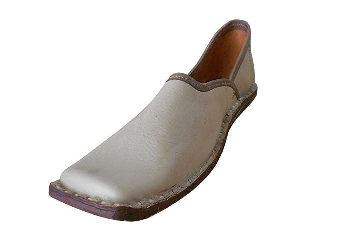 kalra Creations Hombre tradicional hecho a mano indio–Zapatos de piel, color Marrón, talla 42.5 EU