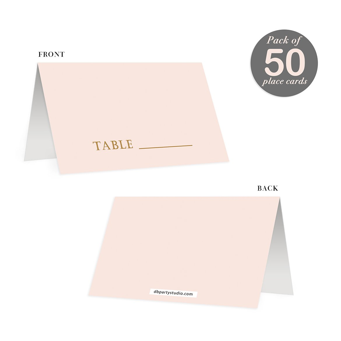 Blush Pink Place Cards 50 Pack Wedding Arranged Table Seating Blank Escort Reserved Named Seat Premium Quality Scored Easy Folding Tented 3.5 x 2 Reception Baby Shower Birthday College Graduation