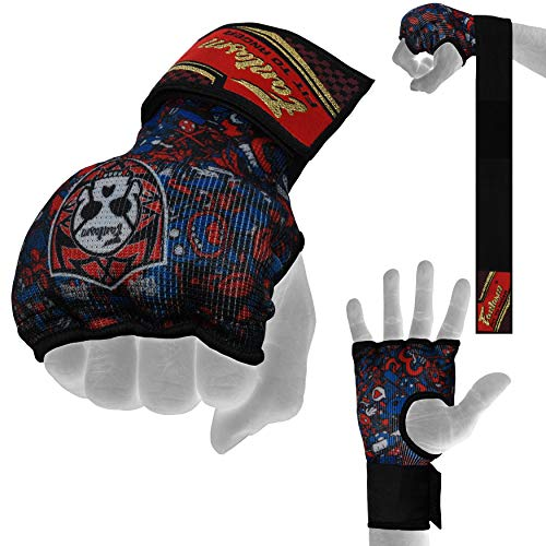Fantasm Sports Karate Mit Red Sublimation Punching - Elasticated Padded Bandages Under Mitts - Quick Long Wrist Support, Fist Protector - Great for MMA, Muay Thai, Kickboxing & Martial Arts