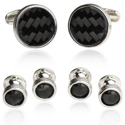 (Carbon Fiber Tuxedo Formal Set Cufflinks Studs with Sterling Silver Plate with Gift Box)