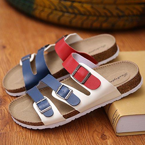 tiene tendencia Las zapatillas de casual pinza antideslizante 1 que A zapatillas y hembra cool parejas y masculinas corcho arena la sandalias 39 de rojo un azul de arrastre pasador nbsp; blanco verano el Trq0Tw