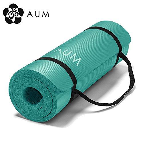 AUM High Density HD Foam Tech Yoga Exercise Mat, 72' x 24' x 1/2', Kiwi Green