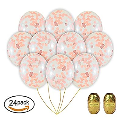 Confetti Balloons Rose glod,Party Balloons,gold balloons,decorations for Weddings, Parties, Bridal Showers, Baby Showers, Celebrations (12 inch, 24Pack)