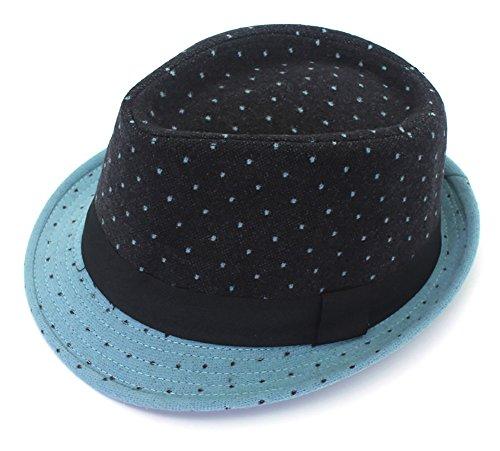 Kids And Toddler Classic Mad Hatter Costumes (Men's Classic Fedora Hat Short Brim woollen Felt Hat Panama Hat Jazz cap Blue)