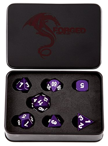 Forged Dice Co. Metal Dice Compatible with RPG games like Dungeons and Dragons, DnD, and Pathfinder (Majestic Purple w/ White Numbers Set of 7 Polyhedral w/ Tin, Set of 7 (Purple Metal)