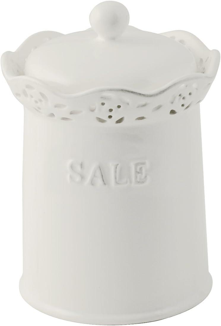 H/&H 130048 Ceramica Tondo Sale H17.5 Contenitori Cucina Barattoli Bianco