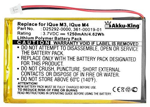 Akku-King Akku ersetzt NavGear W423759 RS503D f/ür Streetmate GP43 Li-Polymer 1250mAh