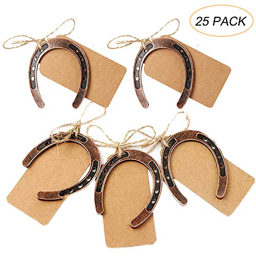Dzty 25pcs Good Lucky Horseshoe Wedding Favors for Guests Rustic Horseshoes Gift Tags with String Vintage Wedding Decorations Party Favors -