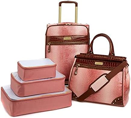 Samantha Brown Embossed Ombr 5-piece Luggage Set Dusty Rose