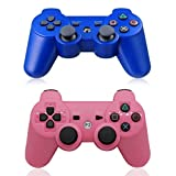 XFUNY Pair of 2 Wireless Bluetooth Game Controllers for PlayStation 3 PS3 Double Shock (1 Blue + 1 Pink)