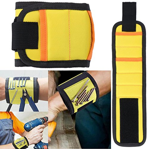 Dreamyth 10 Magnetic Wristband Pocket Tool Belt Pouch Bag Screws Holding Working Helper Durable (Yellow)