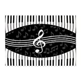 CafePress - Stylish Designer Piano And Music Notes 5'X7'area R - Decorative Area Rug, 5'x7' Throw Rug
