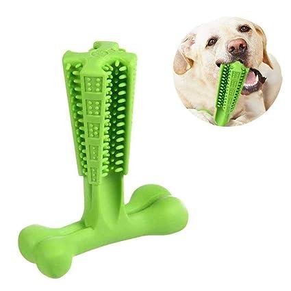 KOBWA Cepillo de dientes para masticar perros, juguetes para perros de silicona no tóxica,