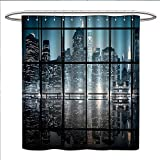Coca Cola Shower Curtain Modern Shower Curtain Collection by Modern New York City Scenery at Night with Skyscrapers Buildings Print Patterned Shower Curtain W36 x L72 Black and Dark Blue