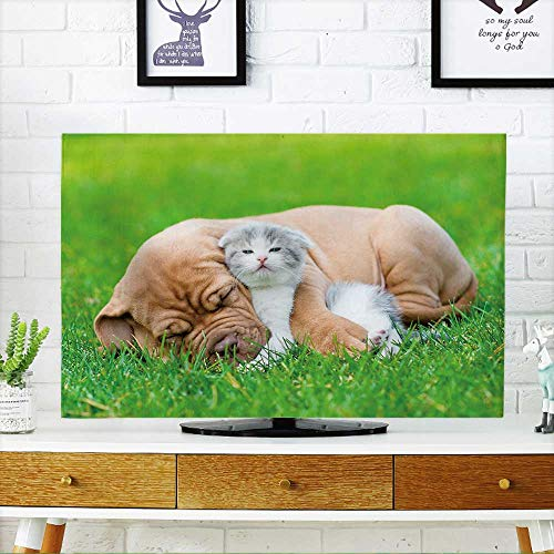 Bordeaux Outdoor Wall - PRUNUS tv dust Cover Sleeping Bordeaux Puppy Dog hugs Newborn Kitten on Green Grass Dust Resistant Television Protector W30 x H50 INCH/TV 52