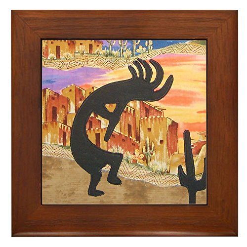 CafePress - Kokopelli Framed Tile - Framed Tile, Decorative Tile Wall Hanging