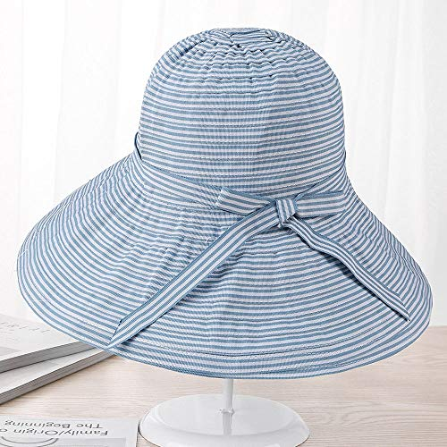Kecqam Pinstripe Foldable Fisherman Hat UV Protection Hats Summer Sunhat Fashion Student Caps Travel and Leisure Cap Sunscreen Hat Wide Brim Sun Hat Gardening Hat (Color : Denim Blue)