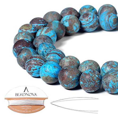 Mexican Crazy Lace - BEADNOVA 10mm Crazy Matte Blue Lace Agate Gemstone Round Loose Beads for Jewelry Making (38-40pcs)